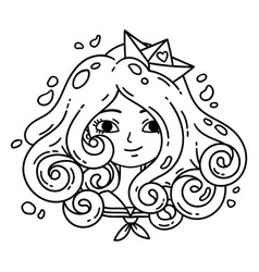 Girl with curly hair sea girl paper boat vector