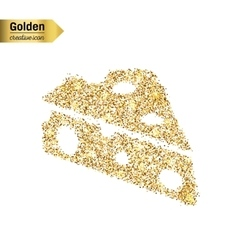 Gold glitter icon of cheese isolated on vector image