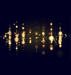 Golden bokeh sparkle glitter lights luxury vector