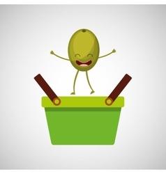green basket market and olive vector image