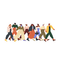 group different women walking together and vector image