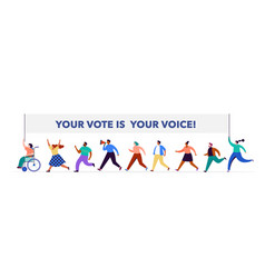 group people walking with flags to elections vector image