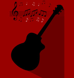Guitar black silhouette with long shadow on dark vector