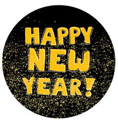 happy new year hand drawn golden wishes on black vector image