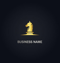 Horse head chess gold logo vector