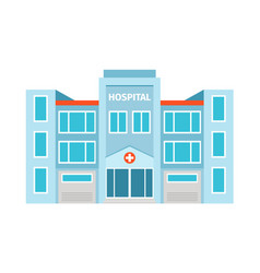 Hospital flat building icon vector