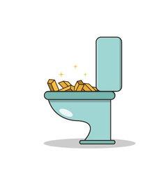Isolated cartoon treasure gold on toilet vector image
