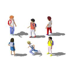 isometric children school students set vector image