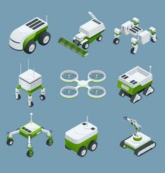 Isometric set iot smart industry robot 40 vector