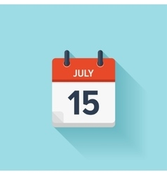 July 15 flat daily calendar icon Date vector