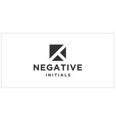K or t negative space logo design inspiration vector