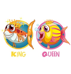 King and queen fish on round badge vector