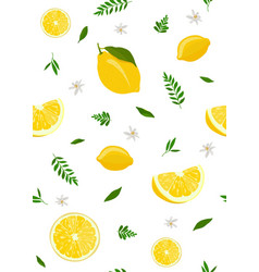 Lemon fruits and slice seamless pattern with cute vector