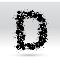Letter D formed by inkblots vector image