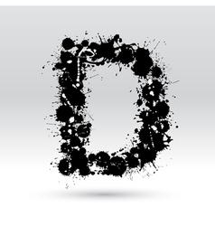Letter D formed by inkblots vector