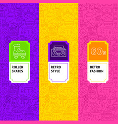 Line retro package labels vector