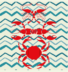 mirror style lobster shrimp crab seamless zigzag vector image