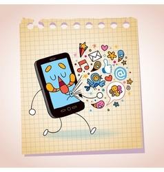 mobile phone note paper cartoon sketch vector image