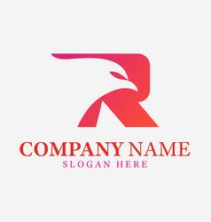 modern letter r initial eagle bird logo designs vector image