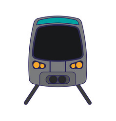 Modern train on rails frontview vector
