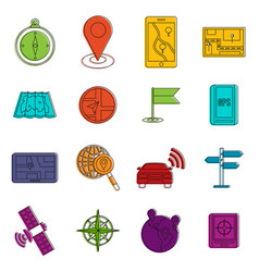 Navigation icons doodle set vector