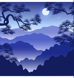 Night landscape with foggy mountains and full vector