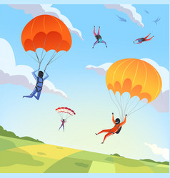 parachute jumpers sky extreme sport hobbies vector image