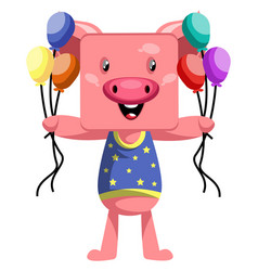 pig holding balloons on white background vector image