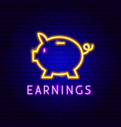 piggy earnings neon label vector image