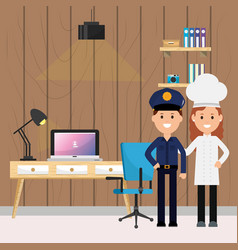 Policeman and woman chef labor office desk vector