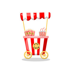 Popcorn cart on wheels food kiosk cartoon vector