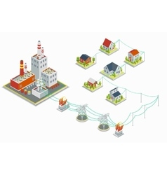Powerhouse and electric energy distribution vector image