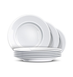 realistic stack clean plate white mockup vector image