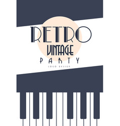 retro vintage party logo design emblem with piano vector image