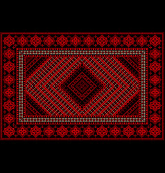 Rug in red shades with original pattern in the mid vector