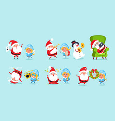 Santa claus and his friends having fun icons vector