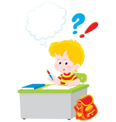 Schoolboy writing a test in school vector