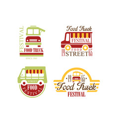 set of colorful logos for food truck vector image