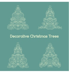 Set of decorative oriental stylized Christmas tree vector