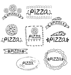 Set of hand written label for pizza theme vector image