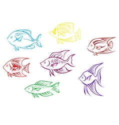 Set of seven aquarium fish silhouettes vector