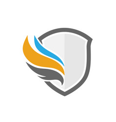 Shield and wings color logo vector