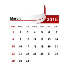 simple calendar 2015 year march month vector image