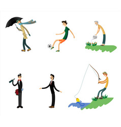 six men set vector image