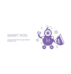 smart iron robot technology template web banner vector image