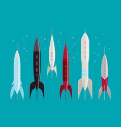 Space rocket retro spaceship spacecraft vector
