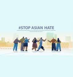 stop asian hate mix race people protesting against vector image