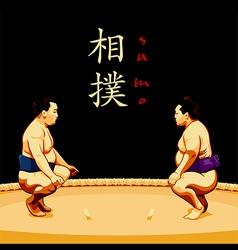 Sumo wrestlers vector image