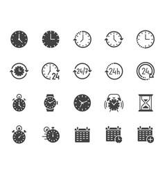 Time flat glyph icons set alarm clock stopwatch vector