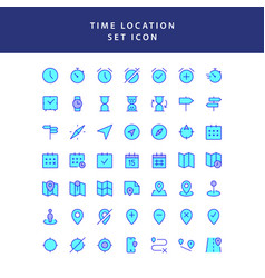 time location filled outline icon set vector image